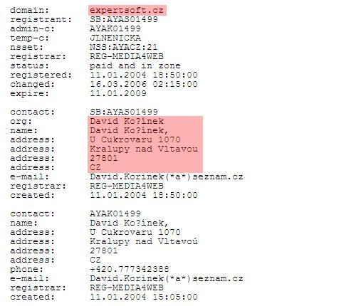 Screen domény Expertsoft.cz