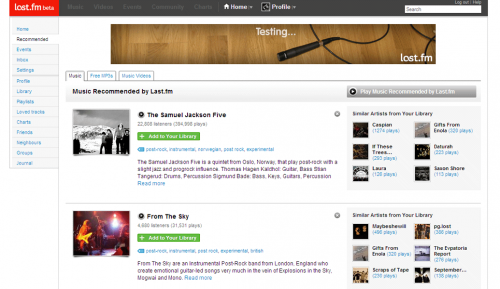 Hudební komunitní server Last.fm výrazně redesignuje