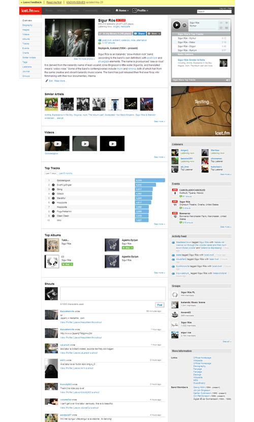 Last.fm: Profil kapely