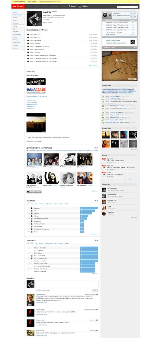 Last.fm: Profil uživatele - Statistiky