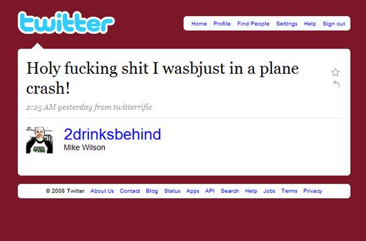 Twitter post - Denver - havarované letadlo